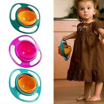 Portable Non Spill Feeding Toddler Gyro Bowl 360 Degree Rotate Dishes for Kids Food (Multicolor)