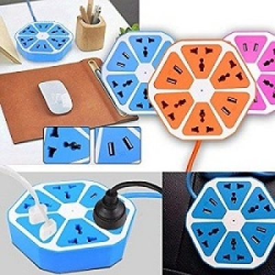 Hexagon Socket with USB Charger, 4-Outlet with 4-USB Power Socket Extension Board with Cord, Mobile Charging USB Power Hub 4 USB 4 Socket Extension Boards