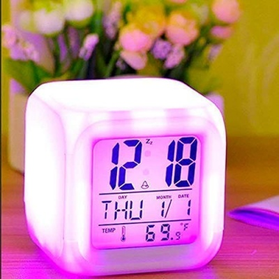Plastic Digital Alarm Clock with Automatic 7 Colour Changing LED, Date, Time, Temperature