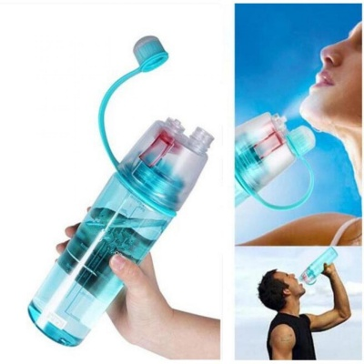 Spray Water Bottle 600ml Portable Sport Water Bottle Anti-Leak Drinking Cup with Mist Hydration