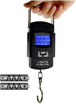 Electronic Portable Fishing Hook Type Digital LED Screen Luggage Weighing Scale, 50 kg/110 Lb (Black)