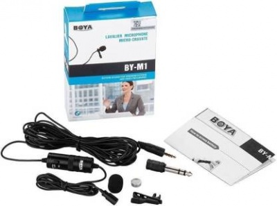 Boya BYM1 Omnidirectional Lavalier Condenser Microphone with 20ft for DSLRs and mobile phone